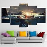 ASDZXC Décor À La Maison Toile HD Photos Imprimé 5 Pièces Peintures Coucher du Soleil De Pêche Bateau Grand Poisson Paysage Affiche Mur Art
