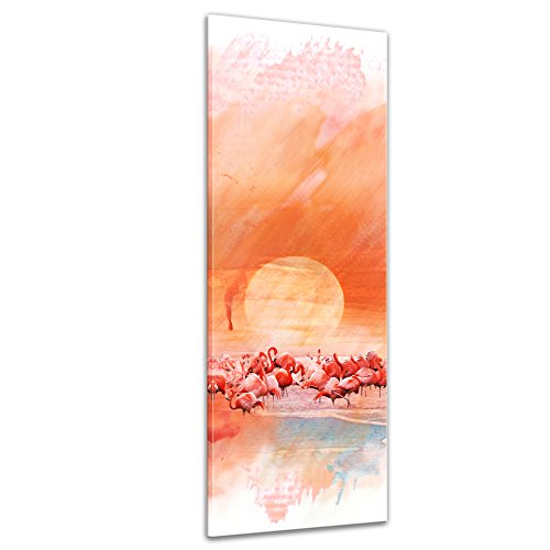 Kunstdruck - Aquarell - Flamingo III - Bild auf Leinwand 40 x 120 cm einteilig - Leinwandbilder - Bilder als Leinwanddruck - Tierwelten - Malerei - pink - Vogel