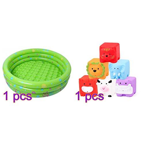 belupai Baby Kids Kinder Ocean Life Drei Ring aufblasbare Schwimmbad Planschbecken mit Bad Toys Grün Grün 80 * 25cm