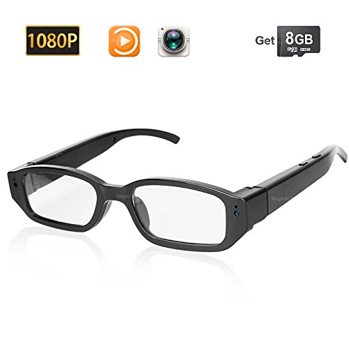 Toughsty 8GB 1080P HD Camara Gafas Lentes Espia Oculta Mini Anteojos Videocamara para Grabar Video y Audio