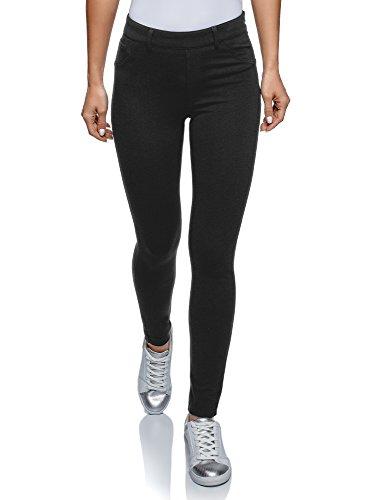 oodji Collection Mujer Pantalones Push Up de Punto, Negro, ES 46 / XXL
