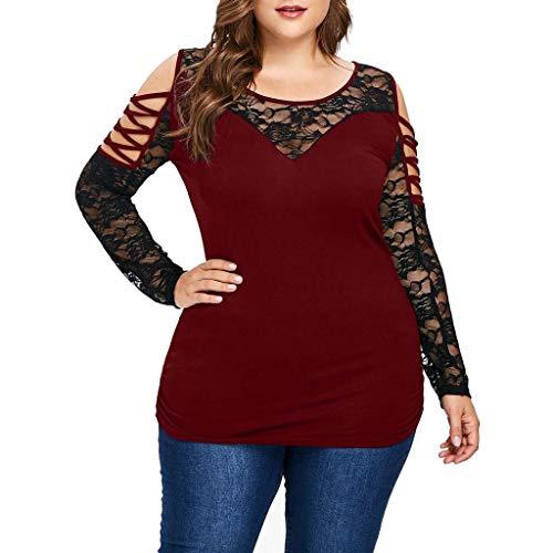 ♥ Loveso♥ Große Größen Damenbekleidung Spitze Blusen Transparent Lange Ärmel Oberteile Plus Size Elegante Sexy Bekleidung Damen