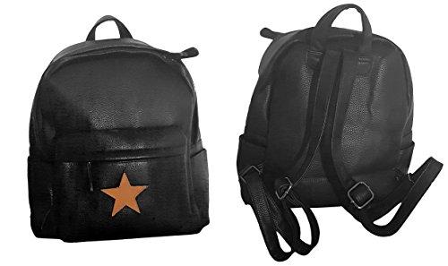 takestop ® Rucksack Rucksack Damen schwarz Kunstleder ECO LEDER CASUAL Schulterriemen Tasche Leinwand Retro 'Vintage Stern Star Tasche Schule
