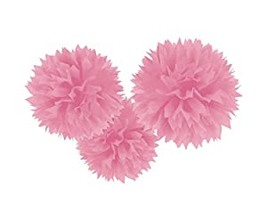 Amscan International - 18055 - 109 - 55 40 cm nuevo rosa Fluffy Pom Poms