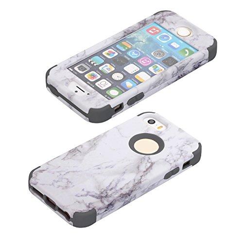 3 in 1 Housse Complète pour iPhone 5/ 5s/ se, Cuitan Motif Marbre PC + Silicone 360° Protection Complète Avant et Arrière Coque Antichoc Étui Complet Case Cover pour iPhone 5/ 5s/ se - Rouge Gris
