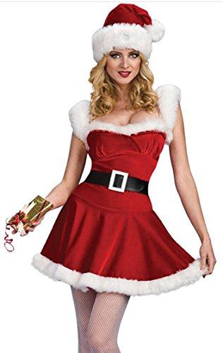 Honeystore 2017 Neuheiten Sexy Ärmellos Weihnachtsmann Kostüm Elfe Weihnachten Santa Weihnachtsfrau Damen Outfit Rot (Kostüm Frosch Kinder Machen)