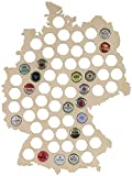 LAUBLUST Bierkarte aus Holz - Deutschland-Karte Design - 44 x 33 x 0,6 cm, Natur | 63 Fächer | Kronkorken-Sammler als Lustige Geschenk-Idee