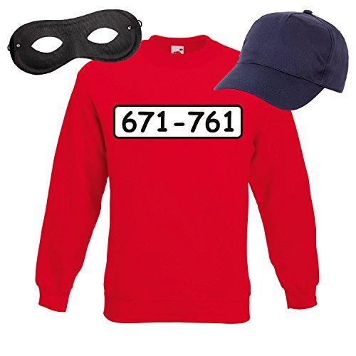 Sweatshirt PANZERKNACKER Set Kostüm mit WUNSCHNUMMER-STANDARDNUMMER Herren und Kinder Verkleidung SET04 Sweater/Cap/Maske (Kostüm Halloween Et Szene)