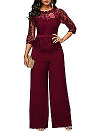 Dihope Femme Combinaison V Cou Jumpsuit 1 2 Manches Romper Casual Bodysuit  Overall Playsuit de 1921b3b2376