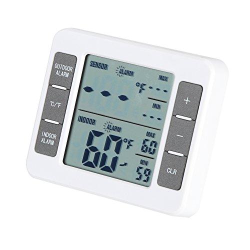 Drahtloser Digital Kühlschrank Gefrierschrank Thermometer Innen im Freien Einfacher Auslesekühlraum Thermometer mit großer LCD Anzeige Hohe niedrige Temperatur Speicher u. Hörbare Alarm Funktion -