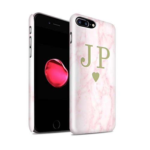 Personalisiert Rosa Marmor Mode Glanz Hülle für Apple iPhone 7 Plus / Gerahmt Silber Single Design / Initiale/Name/Text Snap-On Schutzhülle/Case/Etui Solides Gold Herz