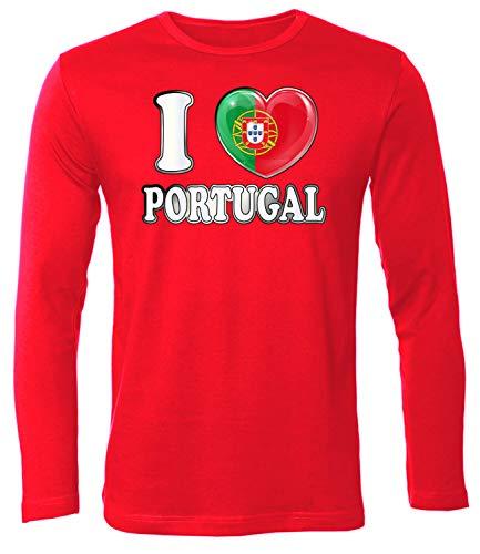 Portugal Fan t Shirt Artikel 4777 Fuss Ball Langarm Longsleeve EM 2020 WM 2022 camisola Team Trikot Look Flagge Fahne Futebol Männer Herren XL