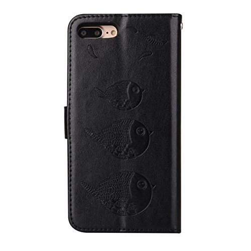 EKINHUI Case Cover Embossing Bird Pattern PU Ledertasche mit abnehmbarem Back Cover, Flip Stand Wllet Tasche mit Lanyard & Card Slots für iPhone 7 Plus ( Color : Black ) Black