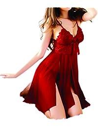 Lingerie Femme Rouge Lace Seduction Sexy Erotique Unique Nightwear Robe de Nuit Coquine Taille Euro Transparent