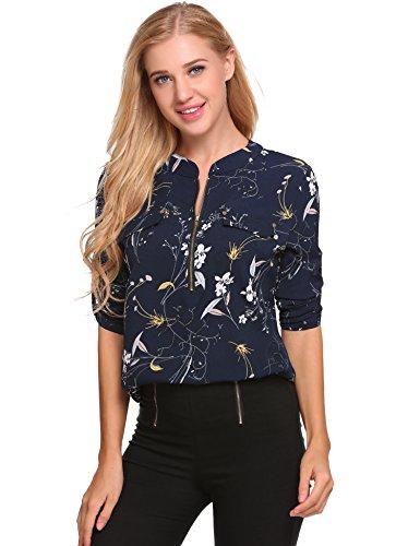 Meaneor Damen Locker Casual Bluse mit allover Blumenprint Beiläufig Bluse Schluppenbluse Klassic Hemd Blusenshirt Loose fit Baumwolle Marineblau