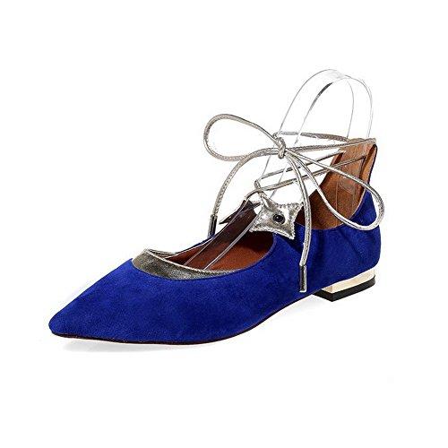 VogueZone009 Femme Matière Mélangee Lacet Pointu à Talon Bas Chaussures à Plat Bleu