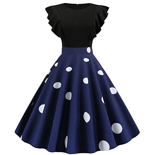 Damen Elegant 1950er Rockabilly Kleid Freizeitkleider Polka Dots Retro Vintage Petticoat Kleider Faltenrock,Frau Blumendruck Kleid Beiläufig Jahrgang Abendkleid Cocktail Party Swing Kleid