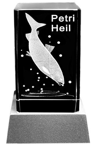 Kaltner Präsente Stimmungslicht – Ein ganz besonderes Geschenk: LED Kerze/Kristall Glasblock/3D-Laser-Gravur Motiv Fische Anglergruß PETRI HEIL (Fische Besondere)