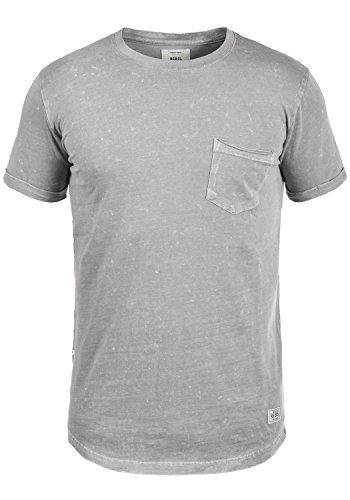 Redefined Rebel Myles Herren TShirt Kurzarm Shirt Rundhalsausschnitt  Brusttasche Aus 100 Baumwolle Mid Grey
