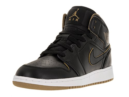 Nike Air Jordan 1 Mid Bg, chaussures de sport garçon Black/Metallic Gold/White