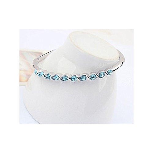 Bracelet plaqué or blanc cristaux swarovski elements Bleu turquoise