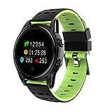 UKCOCO Sport Smart Watch mit GPS Kamera Unterstützung Pulsmesser Stoppuhr Tacho Bluetooth Smartwatch Activity Tracker für Android IOS Telefon (Schwarz + Grün)