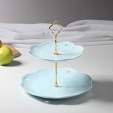 Continental Colori ceramica smalti doppio piatto di frutta snack creativi Disc Tier 3 torta disco minimalista Rack il tè del pomeriggio la frutta secca vassoio ,7,26.5*25cm