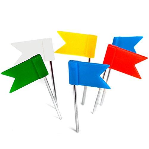 100 Stück Markierungsfahnen ! Pinnadeln Flagge – Gemischte 5 Farben: gelb blau rot grün weiß - Reißnägel Fähnchen für Pinnwand u. Weltkarten Landkarten - Original decomonkey !