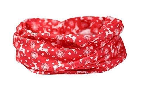 Ruffnek invernale rosso / sci sciarpa - cervo & cuori scaldacollo / sciarpa multiuso, fascia per capelli, berretto - sci, ciclismo, corsa, escursionismo. per uomo, donna e bambino - taglia unica