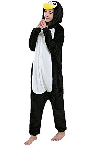 Pyjamas Einhorn Kostüm Jumpsuit Schlafanzug Plüschtier Flanell Cosplay Karneval Fasching (XL: für Höhe 178-187, Pinguin)