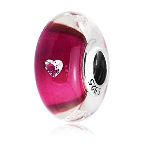 EMOSAN 2017 Nuovo Murano Day Perle di vetro Fit di San Valentino per bracciali Pandora argento 925, fascini monili Cerise cuore di vetro - Fascini Del Cuore Di Vetro