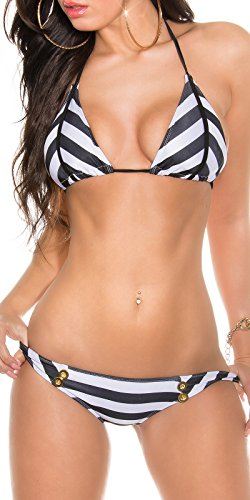 In Stylefashion Damen Triangel Bikini Neckholder Badeanzug Streifen Ringel Marine Brasilian Slip 34 42 (Marine-bikini Badeanzug)