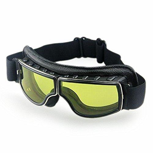 Masque moto Biker Noir et verres jaune 3
