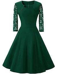 8012408d04eeb2 Damen Abendkleider Elegante Spitzenkleid Vintage Kleid 3/4 Ärmel  Partykleider Knielang Cocktailkleid Festlich…