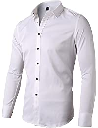 ac3120015 INFLATION Mens Bamboo Dress Shirt Slim Fit Long Sleeve Elastic Formal Shirt  Casual Solid Button Down