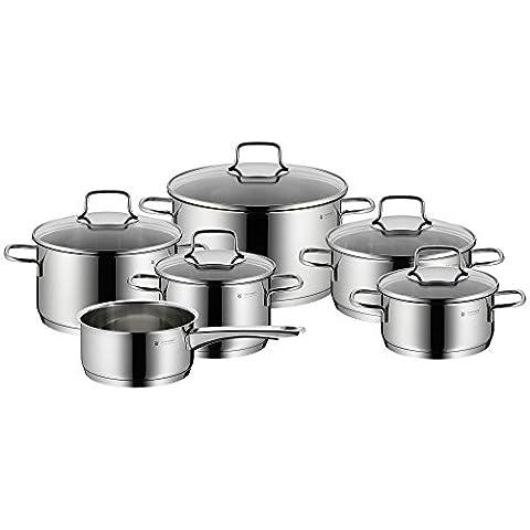 WMF Pot Set de 6Pièces Astoria bord verseur Couvercle en verre Cromargan® en acier inoxydable poli induction Passe au lave-vaisselle NR 780166040