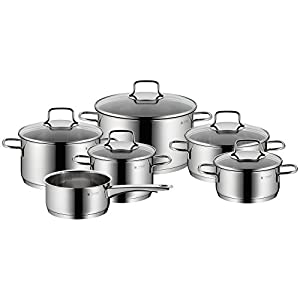 WMF 6-Piece Saucepan Set Astoria Pouring Rim, Glass Lid, Cromargan® Polished Stainless Steel, Suitable for Induction Cookers, Dishwasher Safe No. 780166040