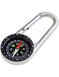Huntington Clip Kompass: Großer Karabiner-Kompass, Kompass im Karabinerhaken, flüssigkeitsgedämpfte Anzeige im Metallgehäuse aus Aluminium, 110 x 47 x 13mm, DC40T (DE)