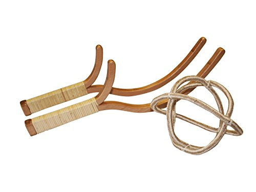 Schildköt Ogo Sport Jabbit Classic Set, 2 Jabbit Schleudern aus Buchenholz, 1 Gitter-Ball aus geknotetem Seil (Ø 15 cm), 970116