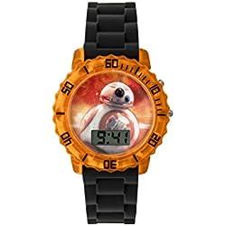 Star Wars Boy's Digital Watch with Multicolour Dial Digital Display and Black Silicone Strap SWM3077