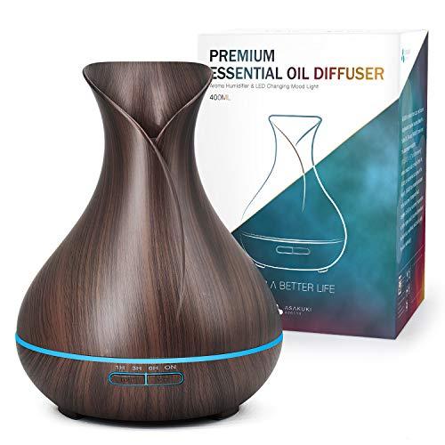 ASAKUKI Aroma Diffuser für Duftöle, 5 In 1 Ultraschall Schwarzer Aromatherapie Diffusor, 400ml Luftbefeuchter mit Timer, Automatische Abschaltung bei Wasserlosem Zustand, und 7 Arten LED Lichtfarben