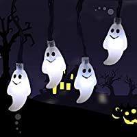 AUELEK 20 LED Ghost String Lights, White LED Halloween String Lights, 2M, Two Modes, Battery Power, Lights Garland for Festival, Party, Halloween, Family Hotel Indoor Atmosphere Lanterns