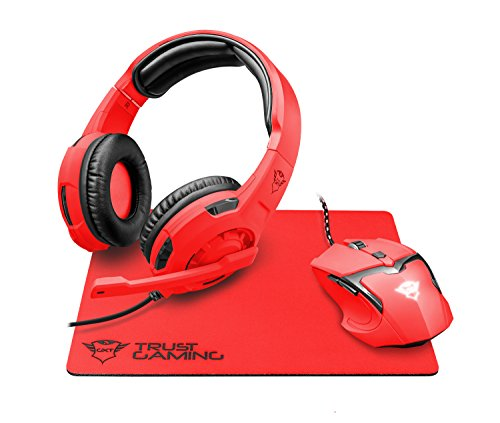 Trust gxt 790-sr spectra pacchetto gaming 3 in 1, mouse, cuffie e mouse pad, rosso