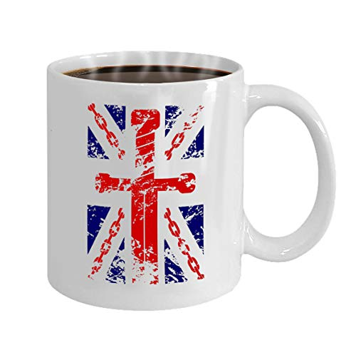 oween Party Gift Coffee Mug Tea british flag typography chain sword blue red white ()