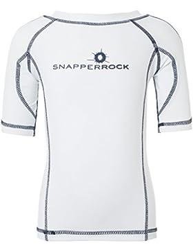 Snapper Rock Jungen & Mädchen UPF 50+ UV Schutz Kurzarm Bade Shirt Rashie für Kinder & Jugendliche Weiß/Dunkelblau...