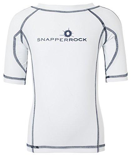 Snapper Rock Jungen & Mädchen UPF 50+ UV Schutz Kurzarm Bade Shirt Rashie für Kinder & Jugendliche, Weiß (Weiß/Dunkelblau), 11-12 Jahre, 152-158cm