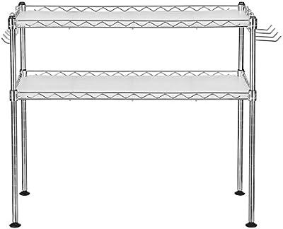 Songmics Estantería Cromada Multifuncional Organizador para cocina Soporte para microondas con 2 estantes Altura ajustable 60 x 35 x 50 cm LGR20C