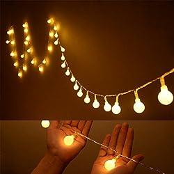 Gearmax® Corona luminose palline, a 10 metri 100 LED bianco caldo, decorazione per Capodanno Natale Wedding Garden Terrazza Giardino