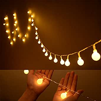 Ilyever 40 LED Globe Long String Lights Warm Color Battery Operated on 13ft/4m Flexible Wire Led ...