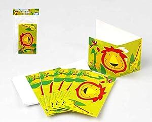 Atosa-Atosa-16802-tarjeta Invitaciones para Fiesta Jungla 9x15cm 6 Unidades, Multicolor, Talla única (16802)